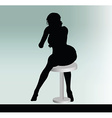 woman silhouette with sitting pose leaning on vector image