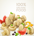 Banner with delicious marinated mushrooms vector image