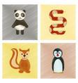 assembly flat shading style icons panda bear snake vector image