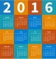 Calendar 2016 year in flat color vector image vector image
