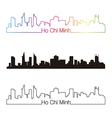 Ho Chi Minh skyline linear style with rainbow vector image