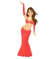 Beautiful young girl in a red suit oriental dance vector image