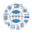 blue round www internet concept vector image
