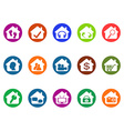 house real estate buttons icons set vector image