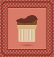 Red candy card with a chocolate cream cake frames vector image