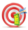 Red darts target aim and banner SALE vector image