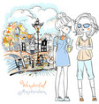 beautiful fashion girls in amsterdam vector image vector image