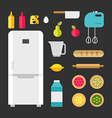 Set of Icons and in Flat Style Kitchen Appliances vector image