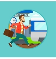 Latecomer man running for the train vector image