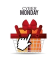basket gift cyber monday design vector image
