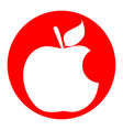 bite apple sign white icon in red circle vector image