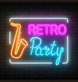 neon signboard of retro party in music bar vector image