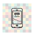 pixel icon smartfone on a square background vector image