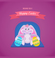 cute hare keeps beautifully decorated eggs vector image