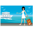 woman with a suitcase on landing stage vector image vector image