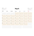 calendar planner template for 2018 year march vector image