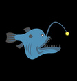 Deep-sea predatory fish with a lantern Terrible vector image