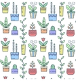 Line house plants pattern vector image