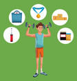 man sports weight training gym items vector image