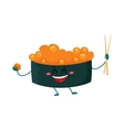 Nori seaweed sushi with caviar character holding vector image