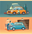 scenes of car repair workers vector image