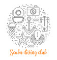 scuba diving line art background vector image