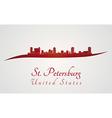 St Petersburg skyline in red vector image