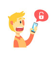 Stressed cartoon man holding unlocked smartphone vector image