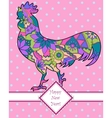Happy new year card with colorful cock vector image vector image