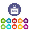 tv with the debate inscription icons set flat vector image