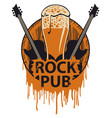 banner for rock pub with beer barrel and guitars vector image vector image