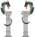 Dragons and columns vector image