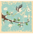 Vintage cartoon flowering branch stork newborn vector image