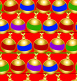 Christmas baubles seamless pattern on a red vector image