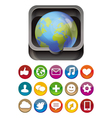 app icon - globe in square box with social media vector image