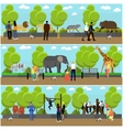 Zoo concept banners People visiting zoopark with vector image