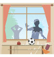 Football breaks window vector image