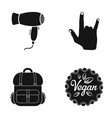 Hair dryer gesture and other web icon in black vector image