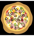 pizza black background vector image