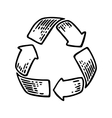 Recycle sign Vintage black engraving vector image