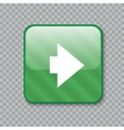 Right arrow icon Glossy green button vector image