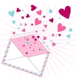 Background with hearts flying out of the envelope vector image vector image