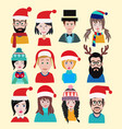 men and women winter warm knitted hats set for vector image