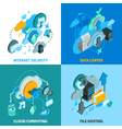 Cloud Services Concept Icons Set vector image