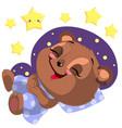 sleeping cartoon bear clipart with moon and vector image