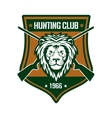 Hunting club sign with lion on heraldic shield vector image