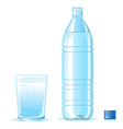 Bottle of clean water and glass vector image vector image