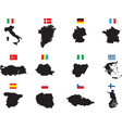 twelve countries on white vector image