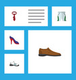 flat icon dress set of heeled shoe sneakers male vector image