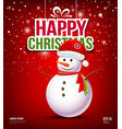 Snowman have Hat red Santa Claus on red background vector image vector image
